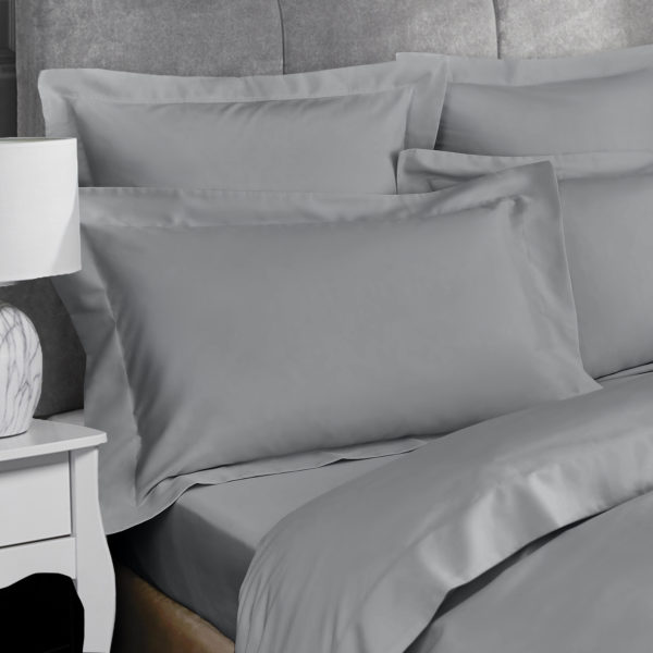 Bedding PERCALE GREY OXFORD PILLOWCASE 2PC