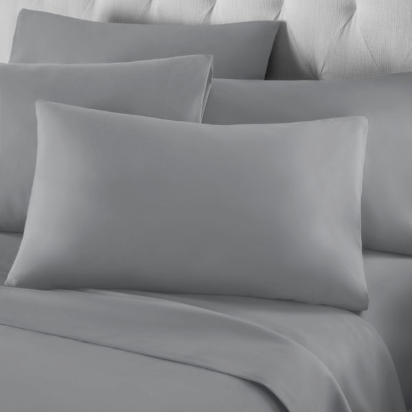 Bedding PERCALE GREY HOUSEWIFE PILLOWCASE 2PC