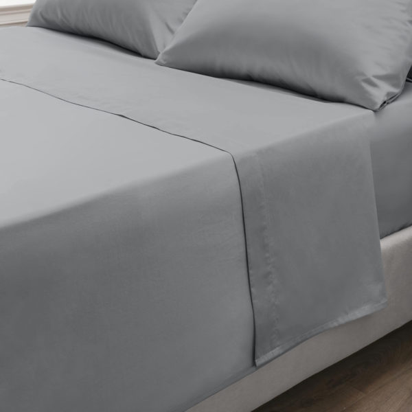 Bedding PERCALE GREY FLAT SHEET