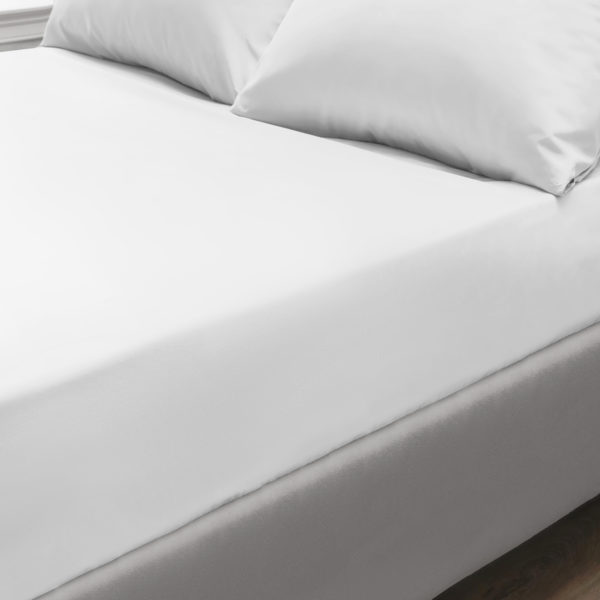Bedding PERCALE WHITE FITTED SHEET