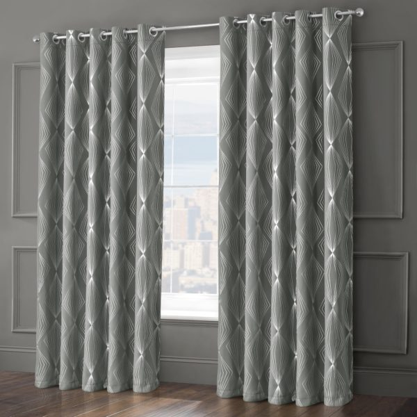 Blush and Grey ONYX RING TOP CURTAINS GREY