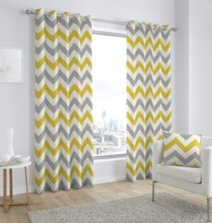 Curtains CHEVRON RING TOP CURTAINS OCHRE