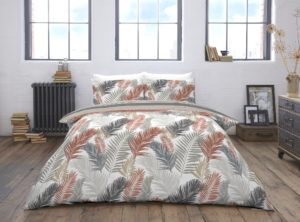 Bedding TROPICAL COPPER REVERSIBLE QUILT COVER SET