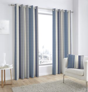 Curtains WHITWORTH RING TOP CURTAINS BLUE