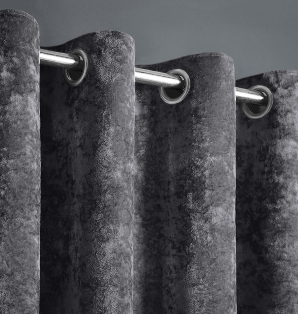 Curtains CRUSHED VELVET RING TOP CURTAINS CHARCOAL