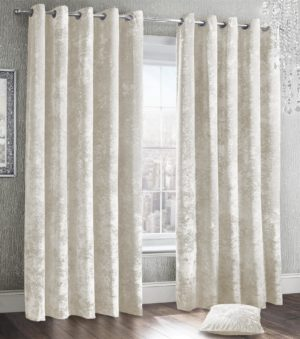 Curtains CRUSHED VELVET RING TOP CURTAINS CREAM