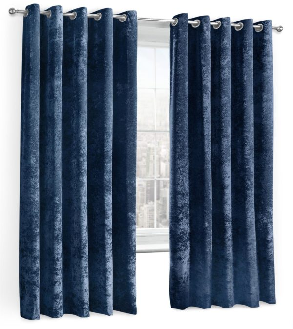 Curtains CRUSHED VELVET RING TOP CURTAINS NAVY