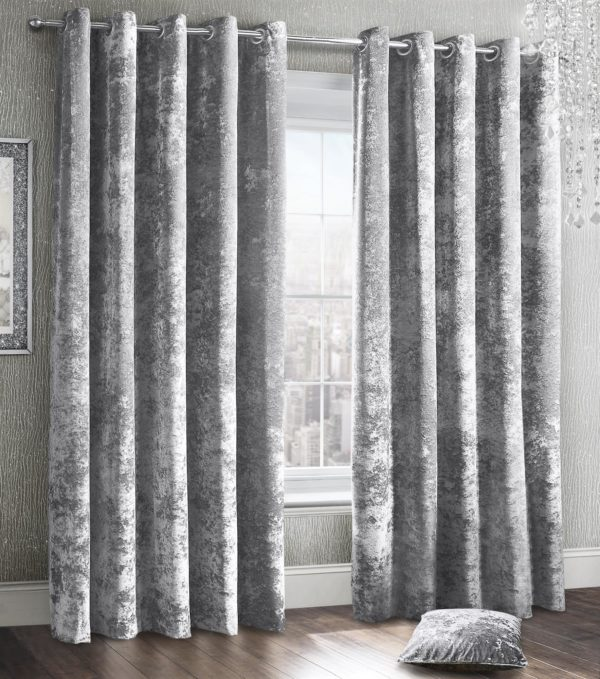 Curtains CRUSHED VELVET RING TOP CURTAINS SILVER