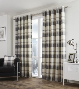 Curtains BALMORAL CHECK RING TOP CURTAINS SLATE GREY