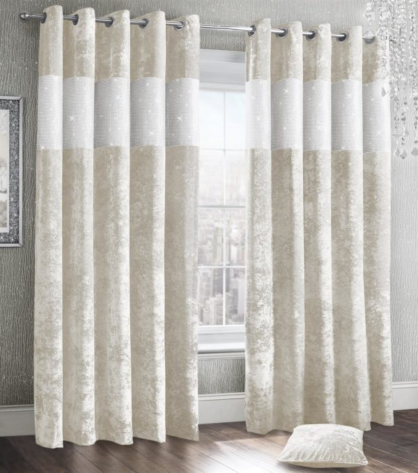 Curtains DIAMANTE CRUSHED VELVET RING TOP CURTAINS CREAM