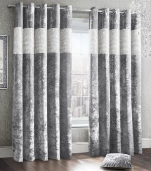 Curtains DIAMANTE CRUSHED VELVET RING TOP CURTAINS SILVER