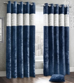 Curtains DIAMANTE CRUSHED VELVET RING TOP CURTAINS NAVY