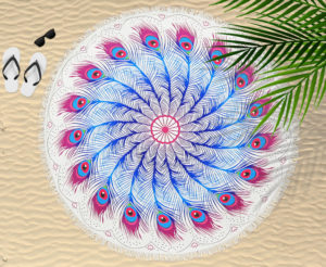 Bathroom ROUND BEACH TOWEL PEACOCK FEATHER