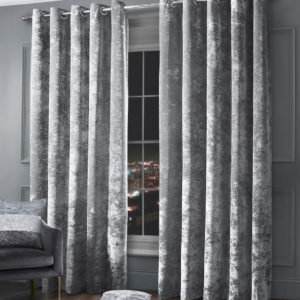 CRUSHED VELVET RING TOP CURTAINS SILVER
