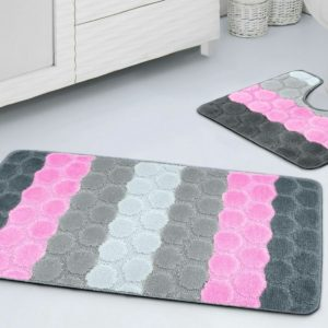 BORA HEX STRIPE 2 PCS BATH SET PINK