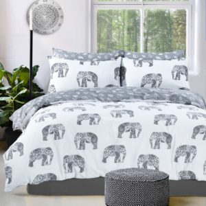 Summer Bedding ELEPHANT REVERSIBLE QUILT COVER SET GREY