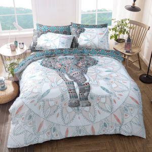 Summer Bedding ELEPHANT MANDALA REVERSIBLE QUILT COVER SET TEAL
