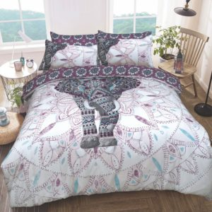 Summer Bedding ELEPHANT MANDALA REVERSIBLE QUILT COVER SET PURPLE