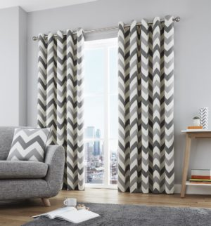 CHEVRON RING TOP CURTAINS GREY