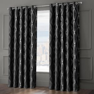 ONYX RING TOP CURTAINS BLACK