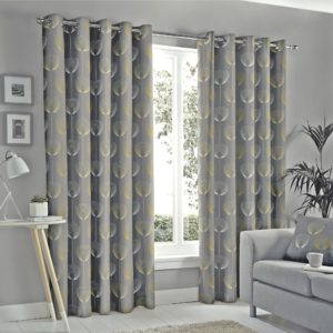 DELTA GREY RING TOP CURTAINS