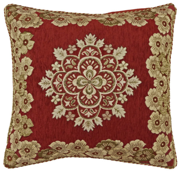 CHENILLE JACQUARD CUSHION COVER RED GOLD