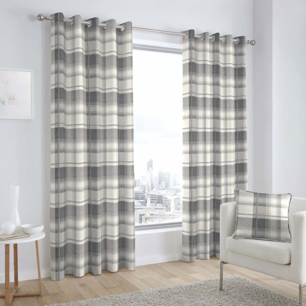 BALMORAL CHECK RING TOP CURTAINS SLATE GREY