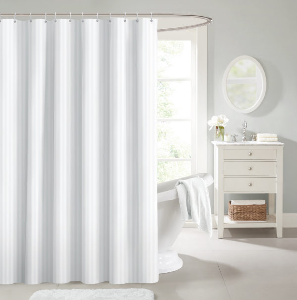 SHOWER CURTAIN WITH HOOKS WHITE STRIPE