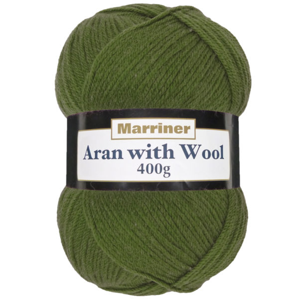 Aran with wool Pesto green