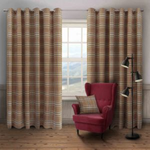 HUGO CHECK RING TOP CURTAINS NATURAL