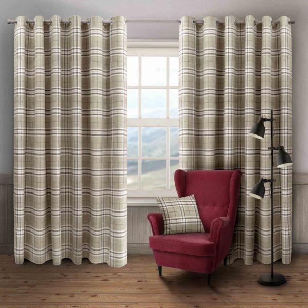 HUGO CHECK RING TOP CURTAINS CREAM