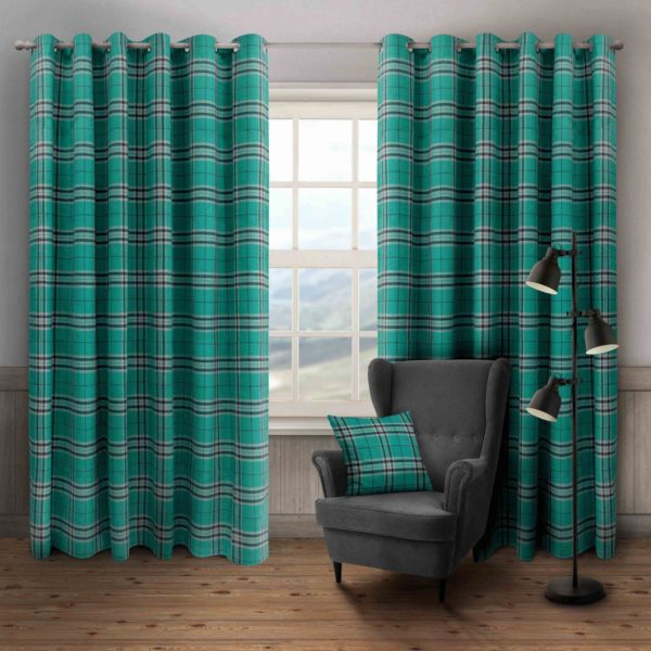 HUGO CHECK RING TOP CURTAINS TEAL