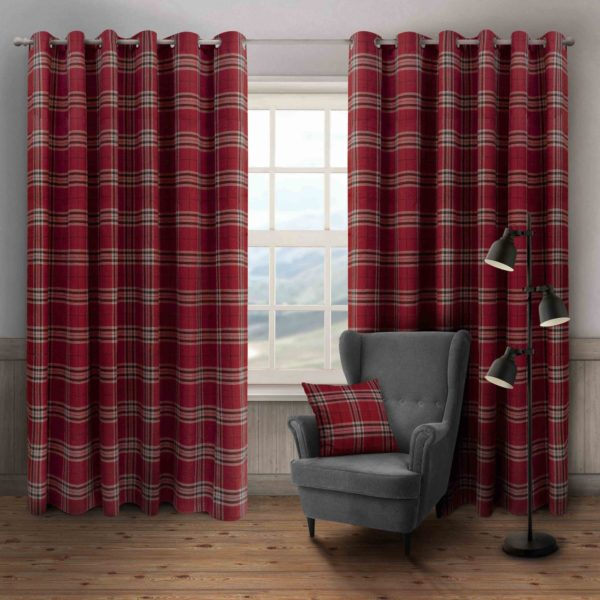 HUGO CHECK RING TOP CURTAINS WINE