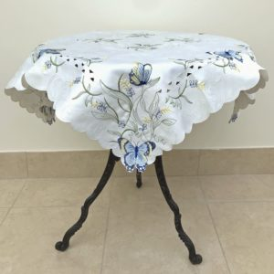 EMBROIDERY TABLECLOTH BLUE BUTTERFLY