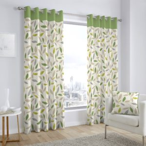 BEECHWOOD RING TOP CURTAINS GREEN