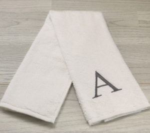 Letter A White Embroidered hand towel