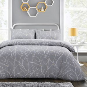 AUTUMN BRANCHES QUILT COVER SET GREY