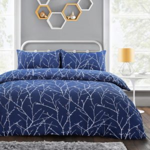 AUTUMN BRANCHES QUILT COVER SET NAVY