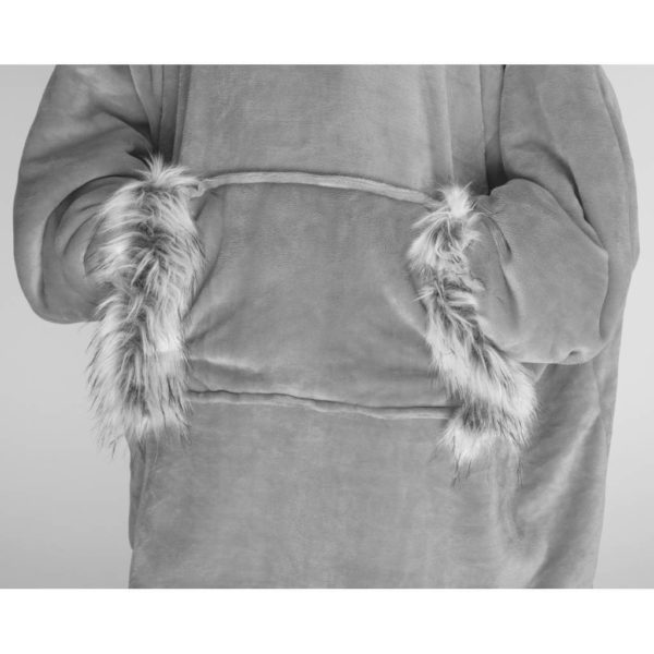 Fur Trim OS Hood Grey pk 150
