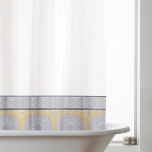 MANDALA SHOWER CURTAIN GREY