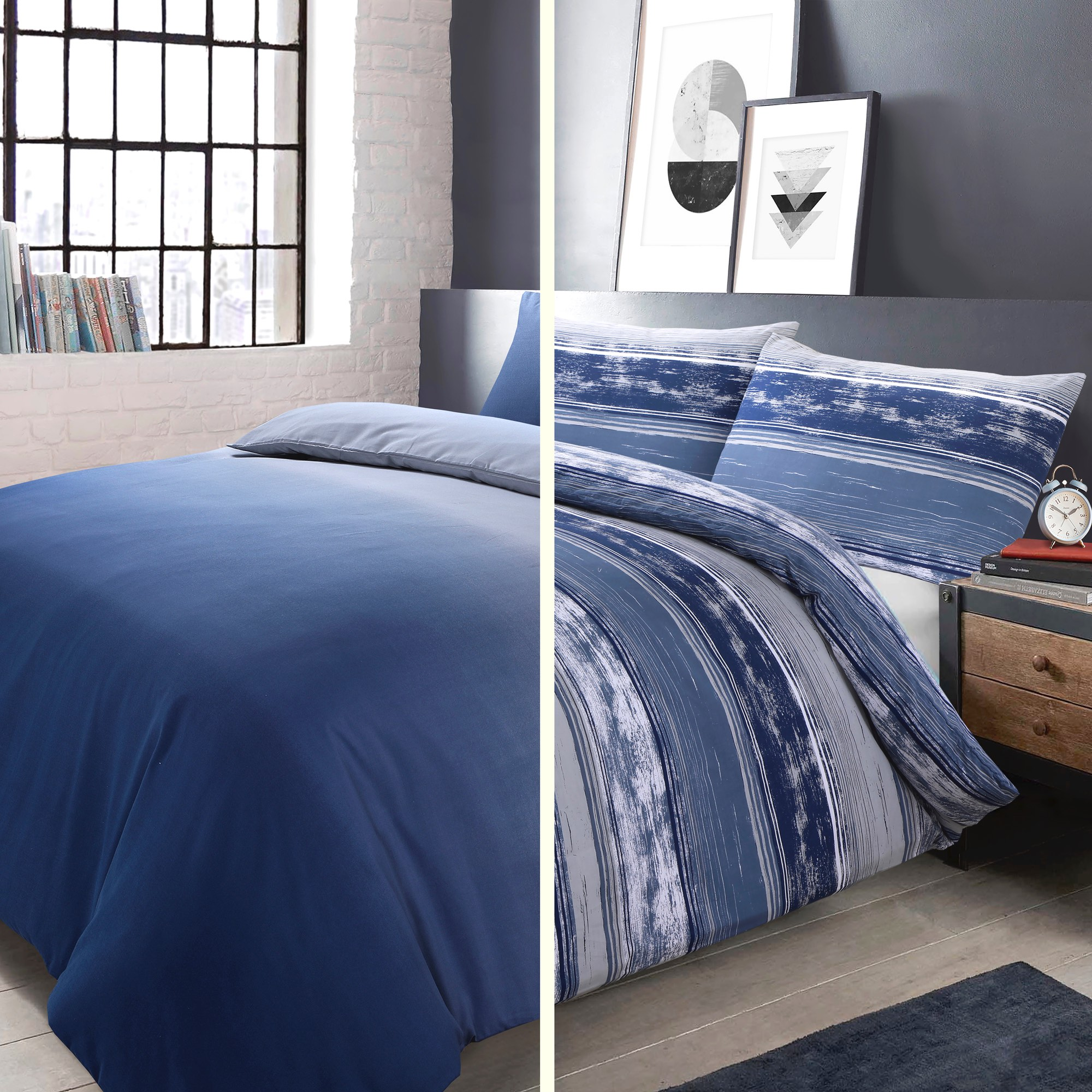 Elevations Quilt Cover Set Blue 2pk Shawsdirect