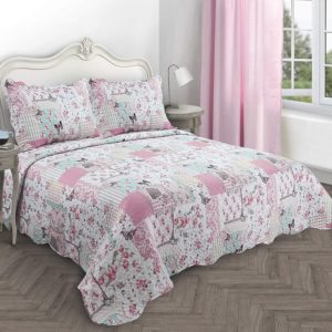 BOUTIQUE BEDSPREAD SET PINK