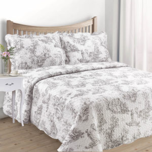 TOILE QUILTED BEDSPREAD GREY