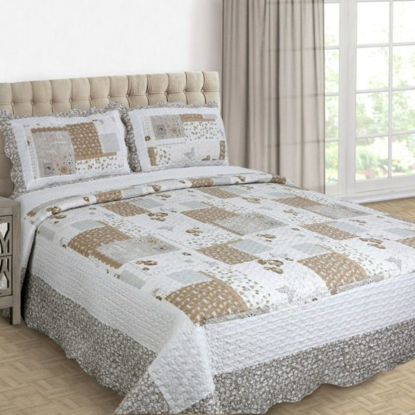 MAYA REVERSIBLE BEDSPREAD SET NATURAL